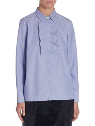 Brunello Cucinelli Striped Ruffle Blouse Sky Blue White