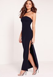 Missguided Bandeau Maxi Dress Navy Blue