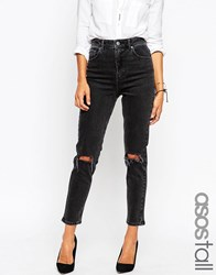 Asos Tall Farleigh High Waist Slim Mom Jeans In Washed Black With Busted Knees Washed Black