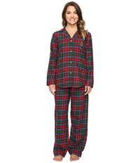 Lauren Ralph Lauren Petite Folded Brushed Twill Pajama Plaid Red Green Blue Women's Pajama Sets