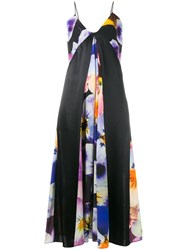 Christopher Kane Silk All Over Pansy Print Cami Dress Black