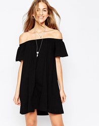 Asos Gypsy Off Shoulder Mini Dress Black