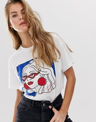 Pull And Bear Graphic Motif T Shirt In White White