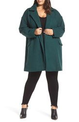 Leith Plus Size Oversize Double Breasted Coat Green Bug