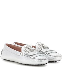 Tod's Heaven Frangia Stone Leather Loafers Silver