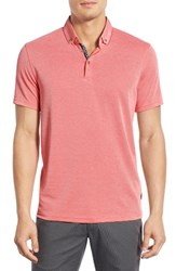 Ted Baker Men's London 'Missow' Modern Trim Fit Pique Polo Coral
