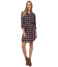 Lucky Brand Bungalow Plaid Dress Navy Multi Women's Dress Blue