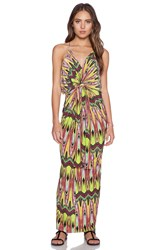 T Bags Losangeles Tie Front Maxi Dress Green