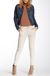 Level 99 Moto Liza Crop Zip Skinny Jean Beige