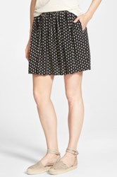 Lucky Brand Wood Stamp Print Flirty Skirt Black