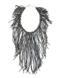 Nakamol Crystal Fringe Statement Necklace Dark Gray