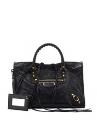 Balenciaga Classic Gold City Small Satchel Bag Black