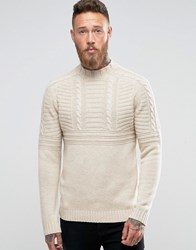 Asos Lambswool Rich Cable Jumper With High Neck In Oatmeal Beige