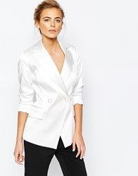 Closet Sateen Suit Jacket With Button Detail White