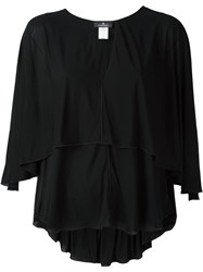 Capucci Flared V Neck Blouse Black