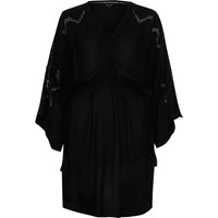 River Island Black Embroidered Wide Sleeve Waisted Dress