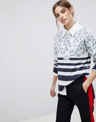 Esprit Stripe And Animal Jumper Off White