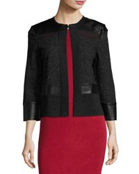 Ming Wang Tweed Jacket With Faux Leather Trim Black