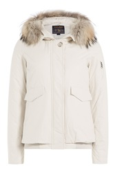 Woolrich Campton Down Jacket With Fur Trimmed Hood White