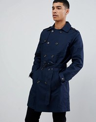 Pier One Trench Coat In Navy Blue