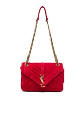 Saint Laurent Medium Monogram Slouchy Suede Chain Bag In Red
