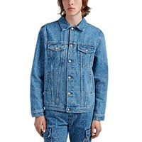 Alyx Logo Checked Denim Trucker Jacket Md. Blue