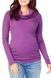 Ingrid And Isabelr Women's Isabel Cowl Neck Maternity Tee Plum Heather