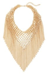 Cara Multi Chain Fringe Collar Necklace Gold