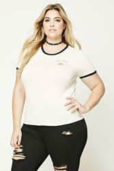 Forever 21 Plus Size Graphic Ringer Tee Ivory Black