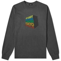Stussy Long Sleeve Stacked Up Pigment Dyed Tee Black