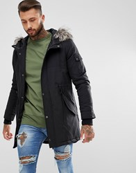 Yourturn Heavyweight Parka In Black With Faux Fur Hood Black