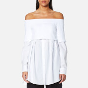 Dkny Women's Extra Long Sleeve Off The Shoulder Button Down Shirt With Knitted Top White