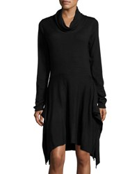 P. Luca Side Slit Cowl Neck Long Sleeve Tunic Black