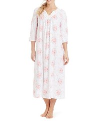 Carole Hochman Printed Long Gown White Floral
