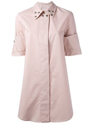 Maison Martin Margiela Mm6 Studded Collar Shirt Dress Women Cotton 42 Pink Purple