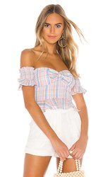 Majorelle Olympia Top In White. Pastel Plaid