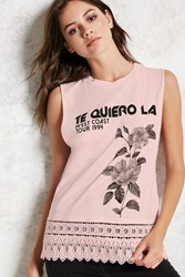 Forever 21 Graphic Crochet Muscle Tee Pink Black