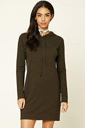 Forever 21 Hooded Sweater Dress Dark Olive