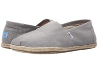 Toms Seasonal Classics Grey Linen Men's Slip On Shoes Black