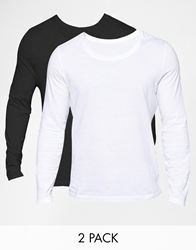 Asos Long Sleeve T Shirt With Crew Neck 2 Pack Save 12.5 Blackwhite
