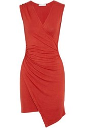 Kain Label Wrap Effect Ruched Stretch Jersey Mini Dress Crimson