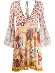 Anjuna Floral Tunic Dress Neutrals