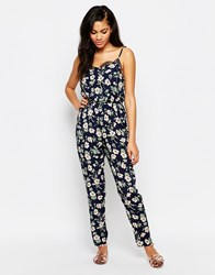 Daisy Street Jumpsuit In Floral Print Navy