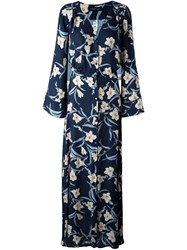 Twin Set Floral Print Maxi Dress Blue