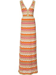 M Missoni Striped Maxi Dress Yellow Orange