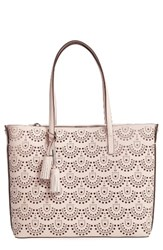 Louise Et Cie Elay Perforated Leather Tote Pink Rose Blush