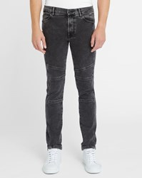 Kenzo Faded Grey Knee Patches Biker Jeans