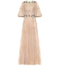 Costarellos Embellished Tulle Gown Beige