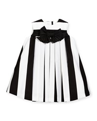 Helena Striped Pleated Shift Dress Black White Size 6M 3 Girl's Size 18 Months