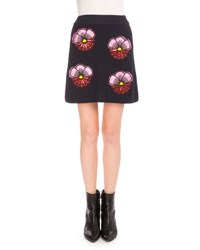 Kenzo Embroidered Tanami Flower A Line Skirt Midnight Blue